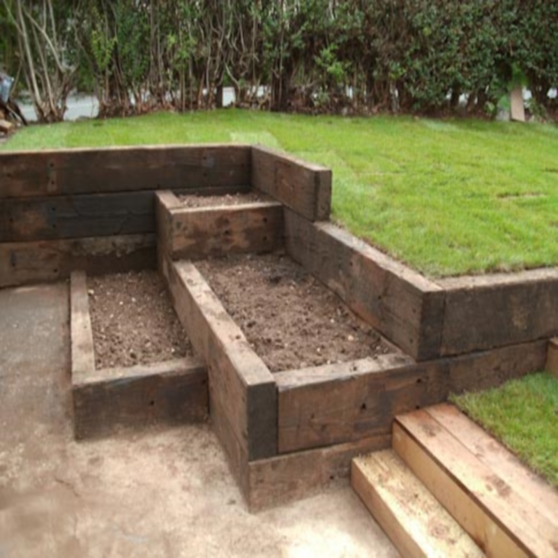 garden landscaping ideas railway sleepers container gardening ideas